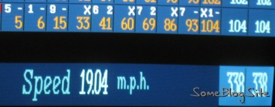 picture of bowling score screen with speed of 19 mph on it