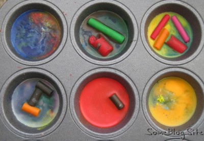 muffin tin of melted crayons