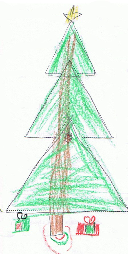 child's drawing of a Christmas tree