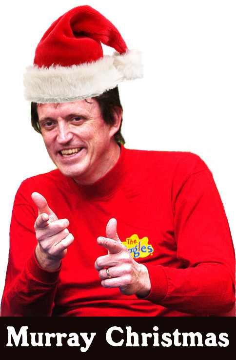image of Murray Cook from the Wiggles, with a Christmas Santa hat, making him Murray Christmas
