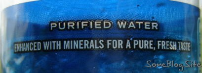 label of a water bottle