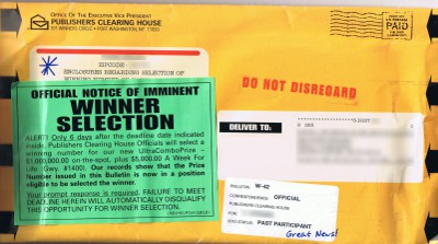 photo of Publishers Clearing House envelope