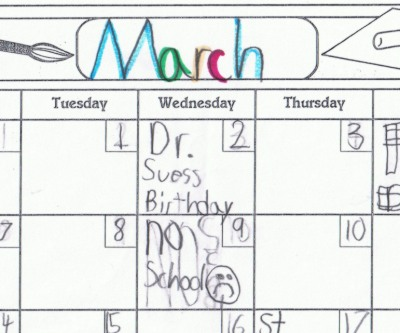 picture of a March calendar
