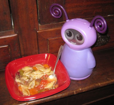 photo of a Fidget toy eating some soup