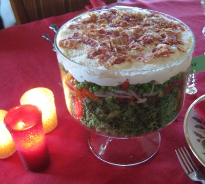 photo of a seven-layer salad