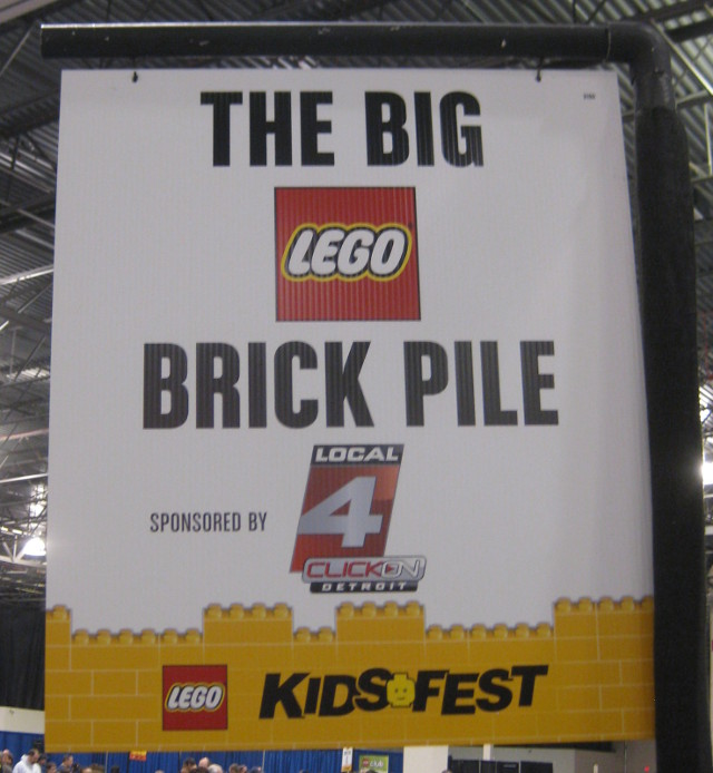 sign for the big brick pile at the Lego Kids Fest