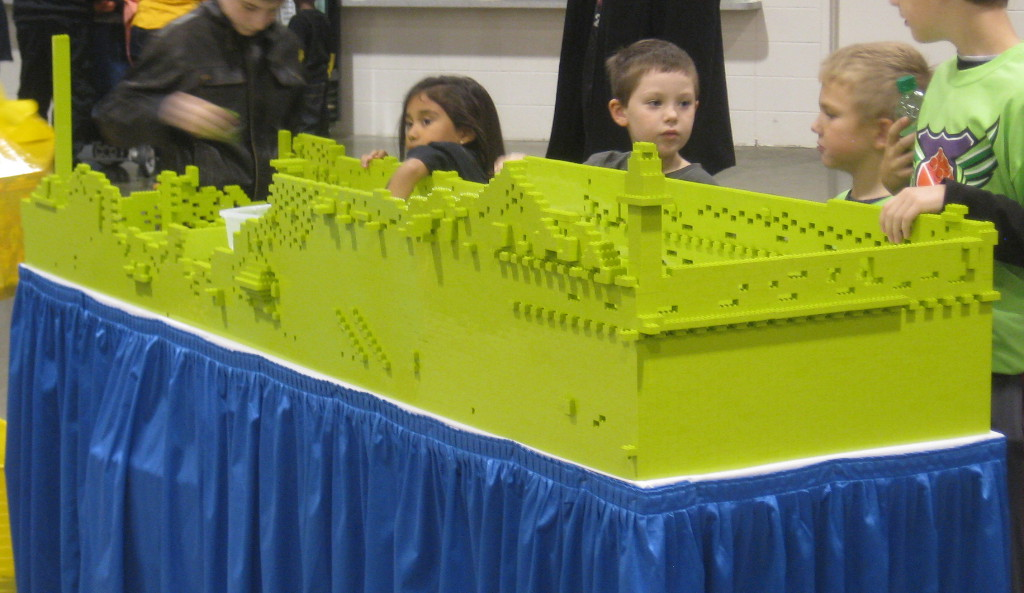 lime green castle wall at the Lego Kids Fest