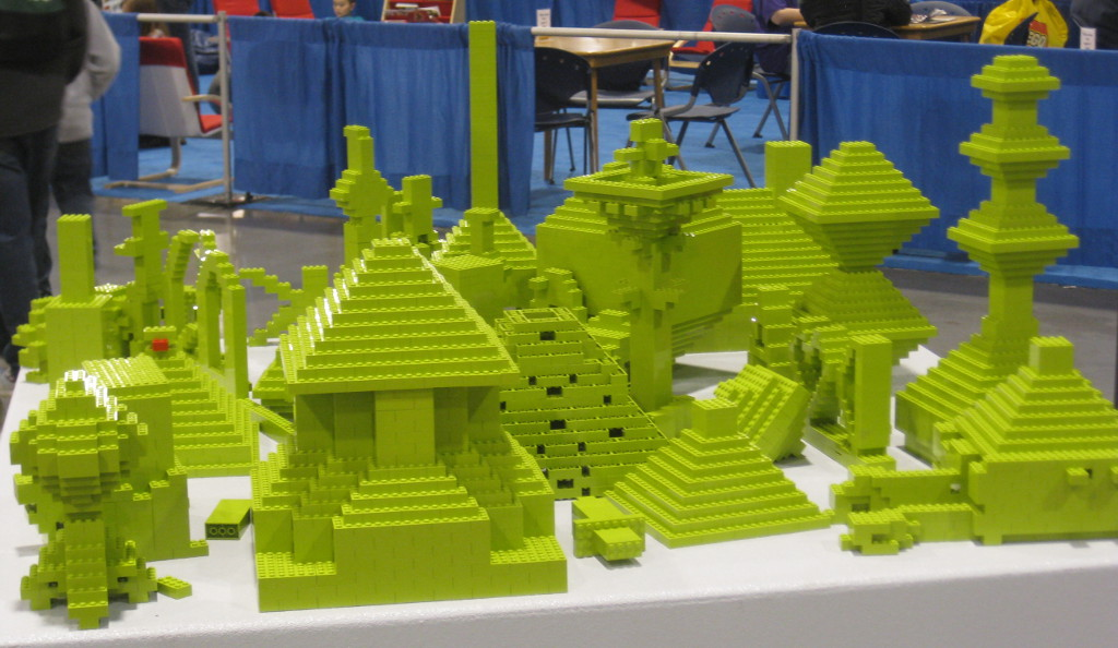 lime green monochrome build creations at the Lego Kids Fest