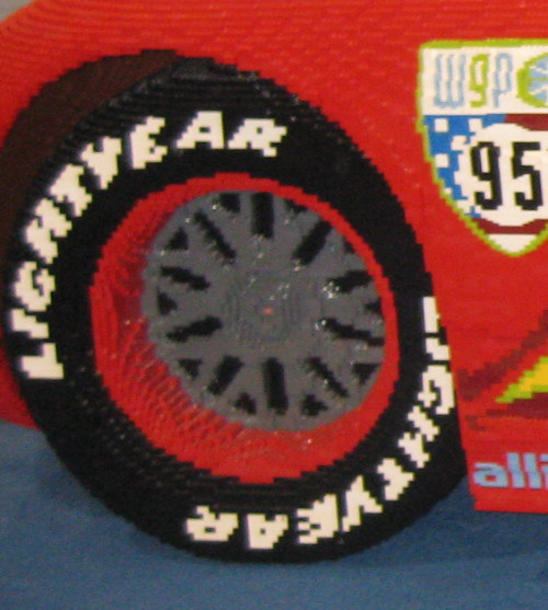 Close-up of Lightning McQueen's wheel and tire at the Lego Kids Fest