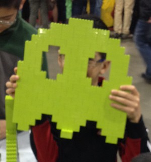 monochrome build Pac-Man ghost at the Lego Kids Fest