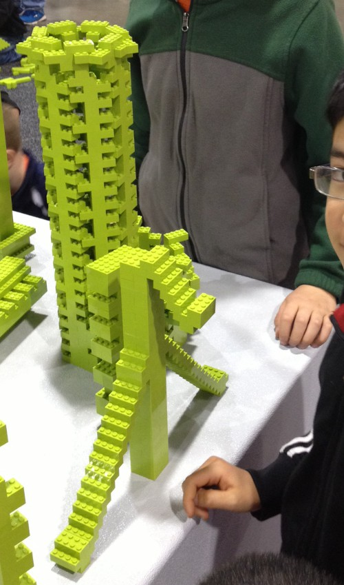 monochrome build tower at the Lego Kids Fest