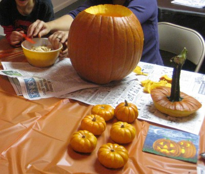 picture of a table used for carving a pumpkin into a jack-o-lantern