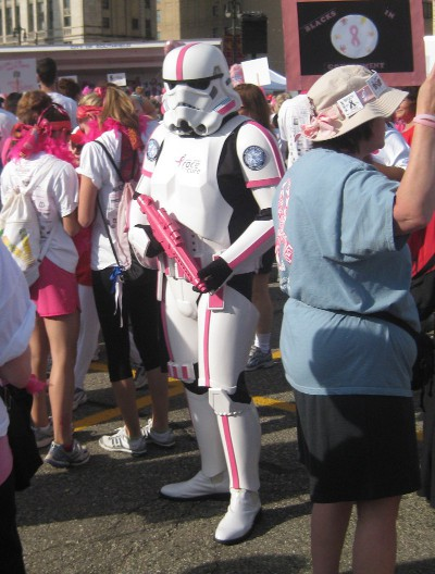 picture of a pink Storm Trooper at the race for the cure