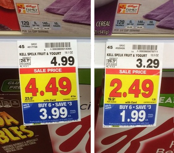 image of large cereal box price compared to small cereal box price