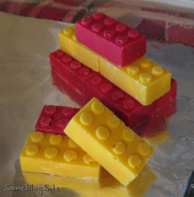 Picture of chocolate in the shapes of a Lego bricks