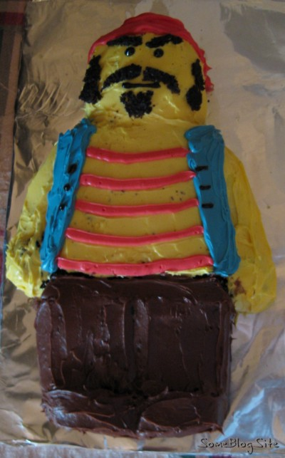 Picture of a Lego pirate minifig cake