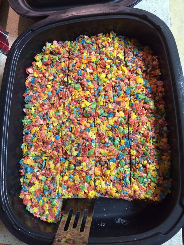 image of rice krispy treats made with fruity pebbles instead of rice cripies, aka rainbow treats or fruity treats