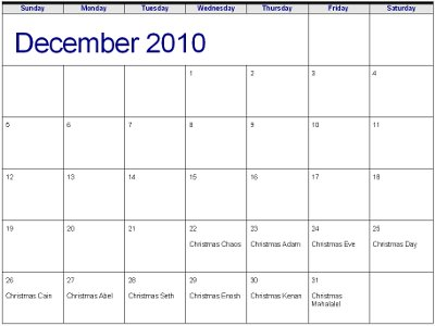 calendar page for December 2010 showing Christmas Adam