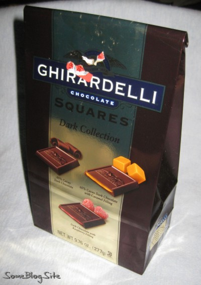 Bag of assorted Ghirardelli dark chocolates