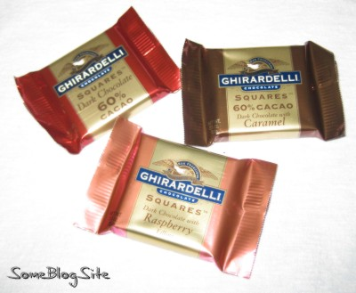 Three types of Ghirardelli dark chocolates