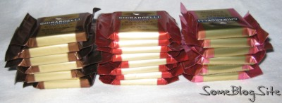 Stacks of assorted Ghirardelli dark chocolates