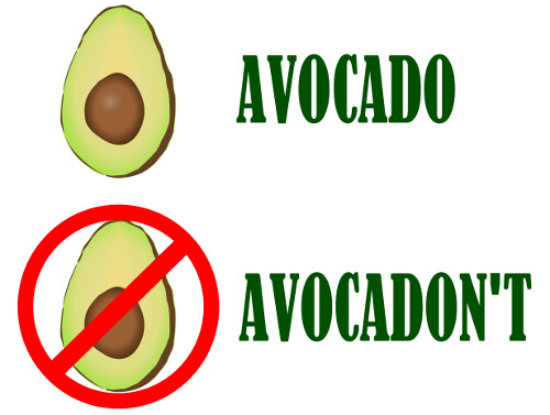 graphic showing avocado and avocadon't