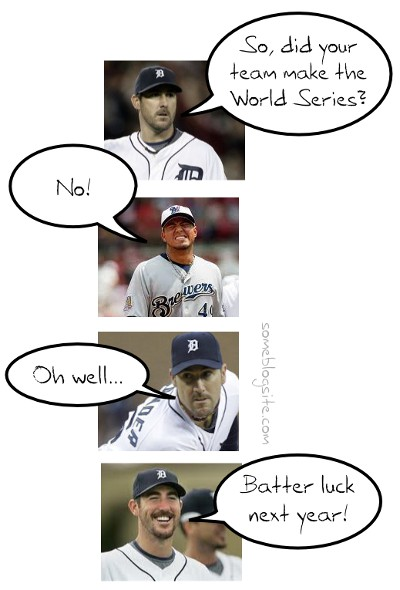 comic about the Justin Verlander and Yovani Gallardo discussing missing the 2011 World Series