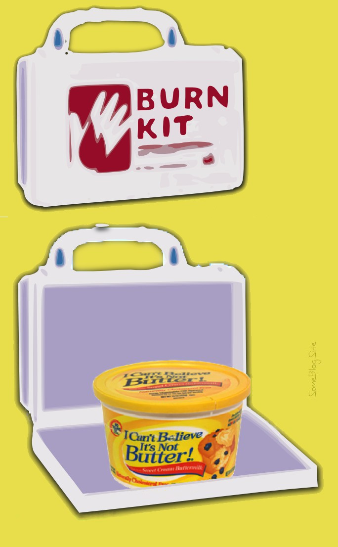 image of a burn kit case shown open and consisting of I Can't Believe It's Not Butter