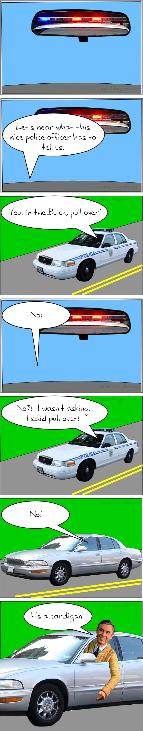 comic of a police officer trying to pull over Mr. Rogers