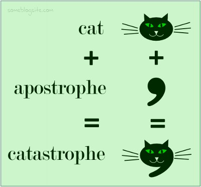 feline punctuation pun: cat plus apostrophe equals catastrophe
