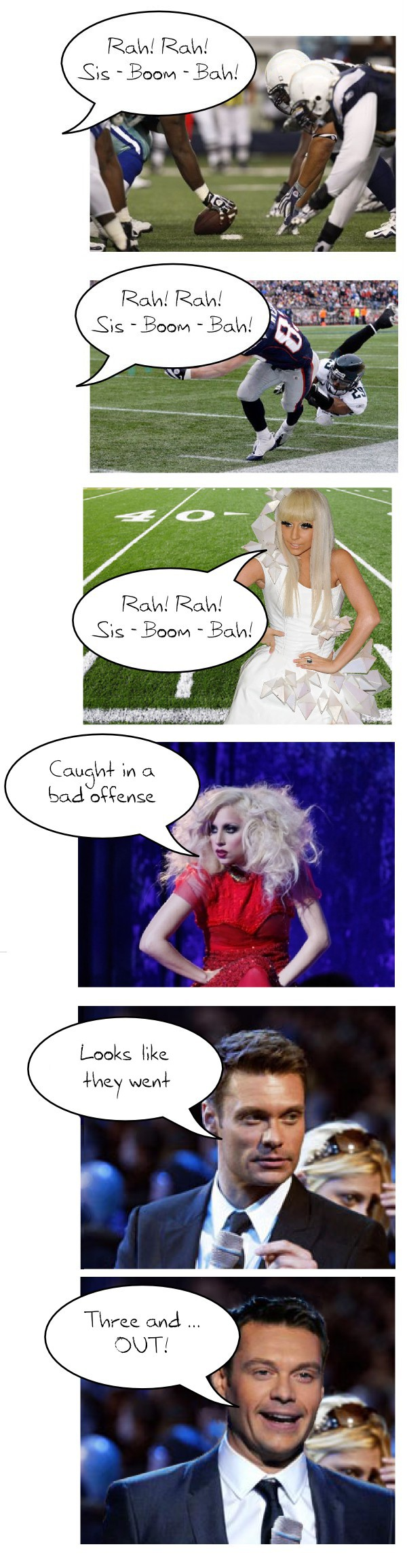 comic of Lady Gaga cheering for a football game, accompanied by Ryan Seacrest