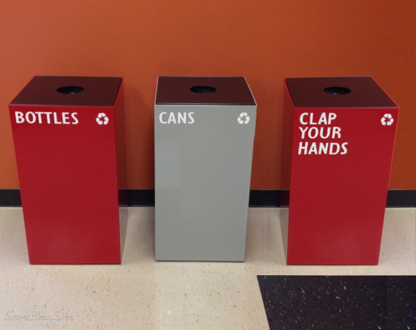 photo of recycling bins labelled bottles and cans and clap your hands, spoof of two turntables and a microphone (where it's at)