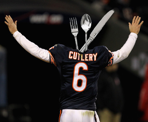 Jay Cutler combined with cutlery to make a jay cutlery set