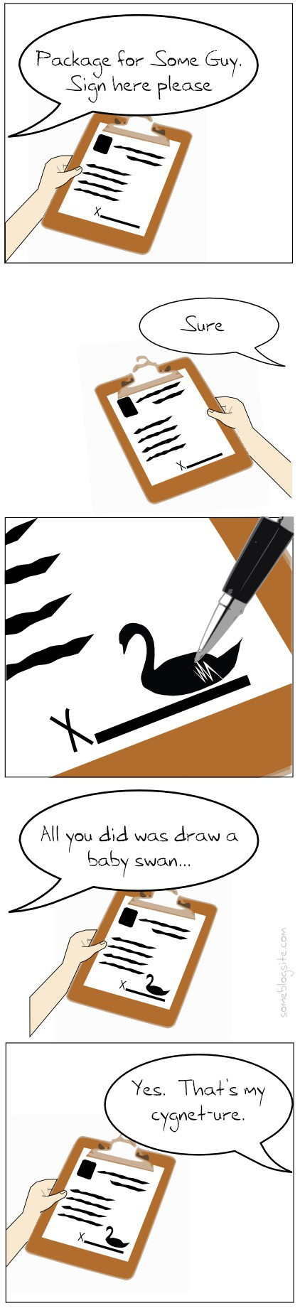 comic about signing your name by drawing a baby swan as a cygneture