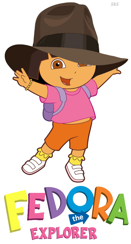 Dora the Explorer wearing a hat, making her Fedora the Explorer
