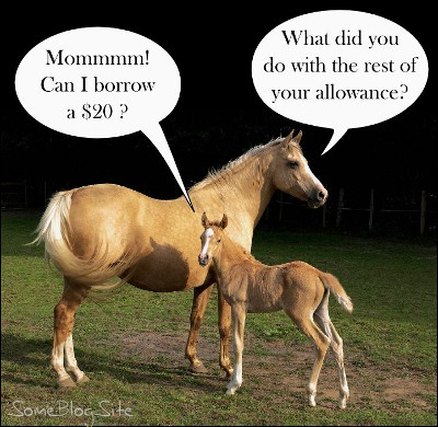 picture of a foal discussing money with his mother