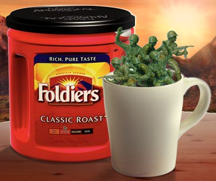 picture of plastic green army men soldiers in a cup of Folgers coffee spelled as Foldiers
