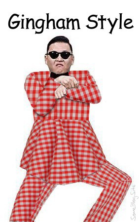 Oppa Gingham Style - Psy wearing a red-checkered gingham suit, not quite a dress