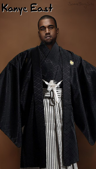 photo of Kanye West in eastern (Japanese) clothing