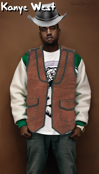 photo of Kanye West in western cowboy clothing