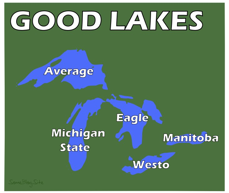 map of the Great Lakes, but with different names to make them the Good Lakes