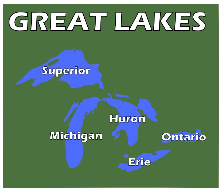Great Lakes Map With Names Map of The Great Lakes