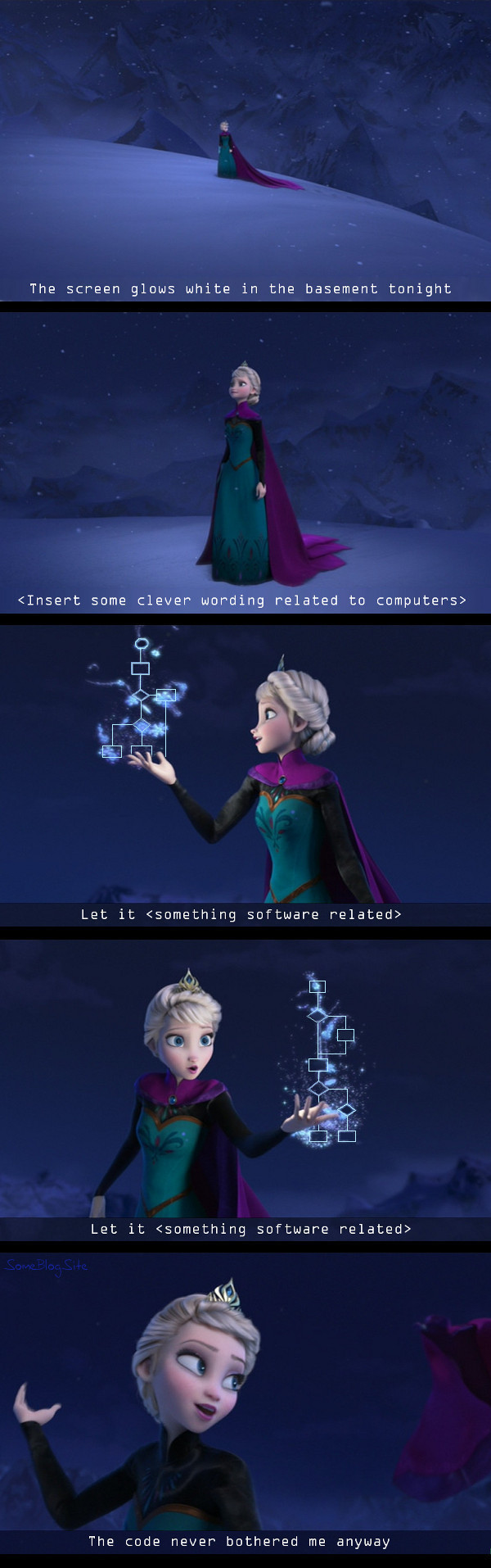 image of the coder's version of Let It Go, AKA Let It Goto