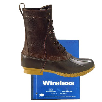 photo of a boot on a wireless notebook