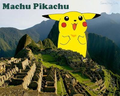 picture of a giant Pikachu at Machu Picchu
