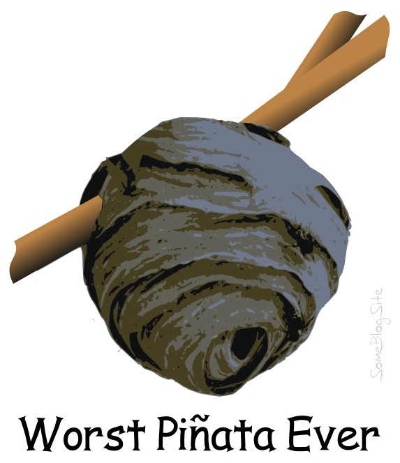 picture of the worst pinata ever (or worst piñata ever) - a piñata shaped like a hornets' nest or wasp nest