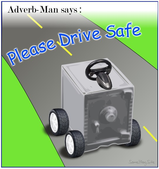 drawing of a safe with wheels on the road so that someone can drive safe