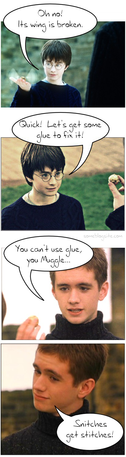 comic about Harry Potter and Quidditch and snitches get stitches instead of glue