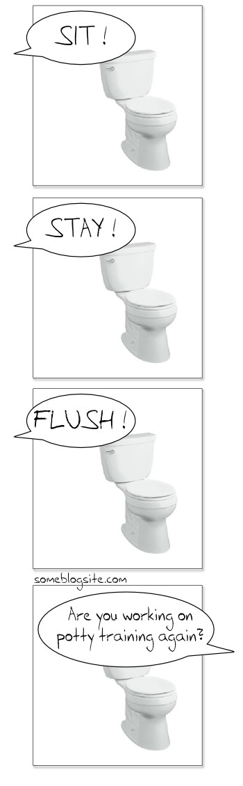 comic strip of someone trying to train a potty