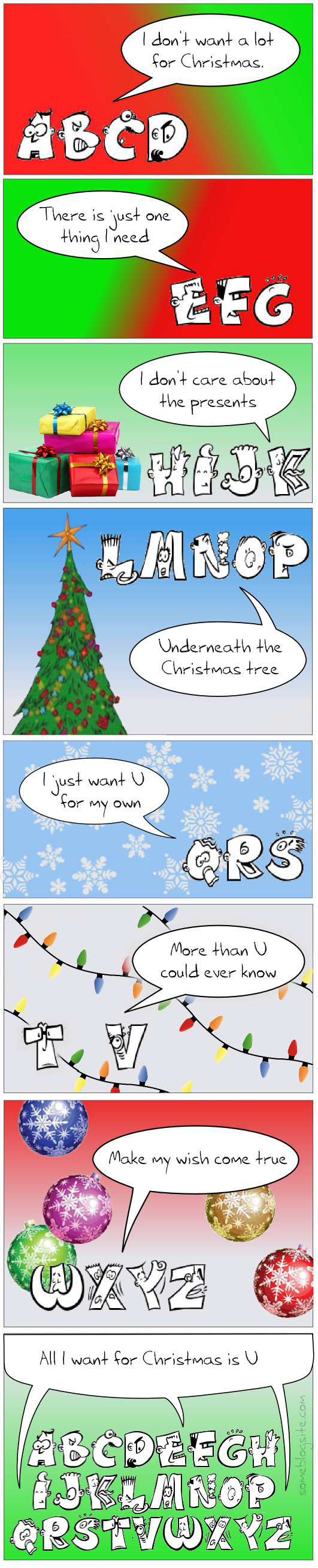 comic of an alphabet singing Mariah Carey's 'All I Want for Christmas is You' but with the letter U instead of the word you